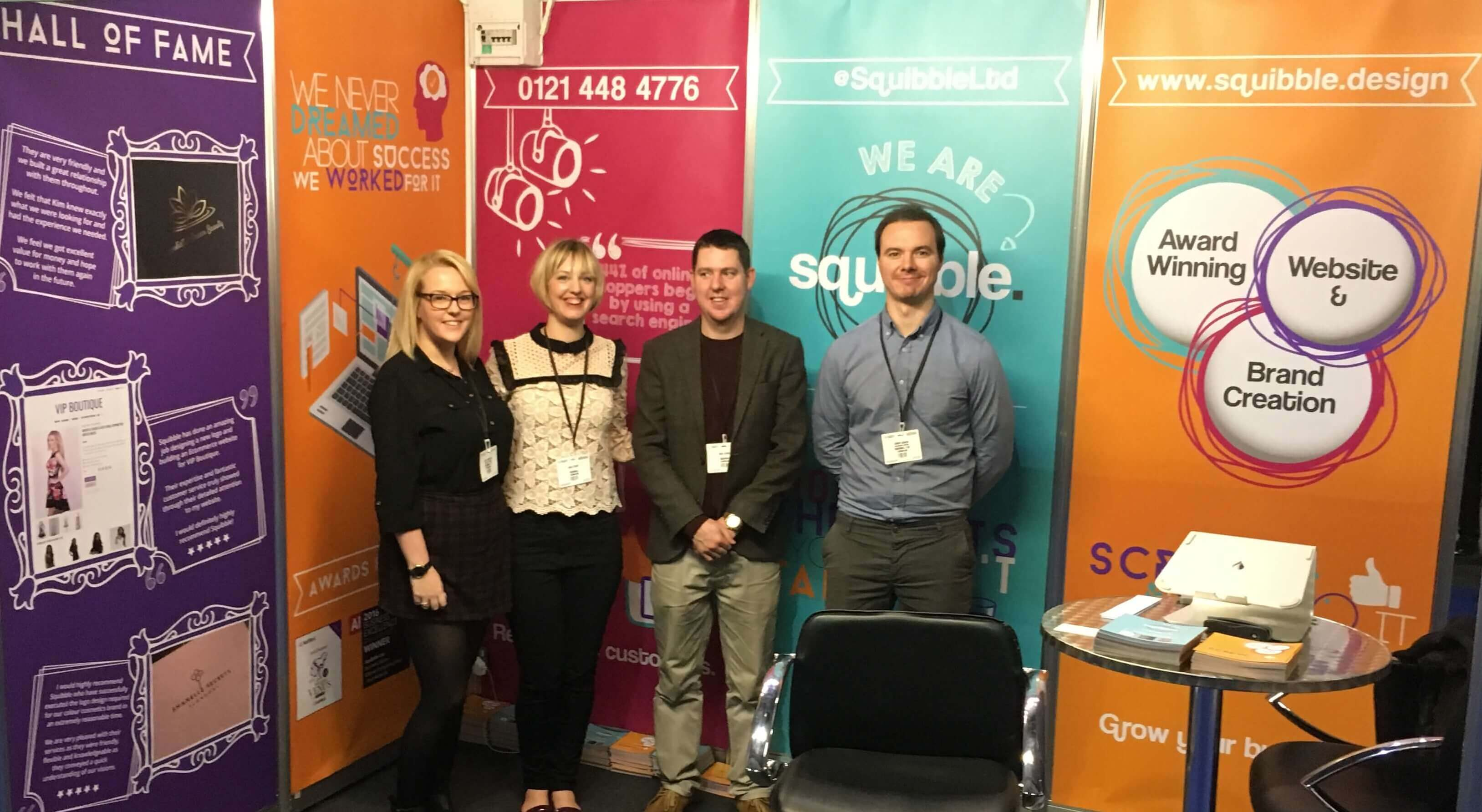 The squibble team taking part in an exhibition