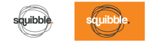 1 squibble logo white background, grey text and logo orange background with white text
