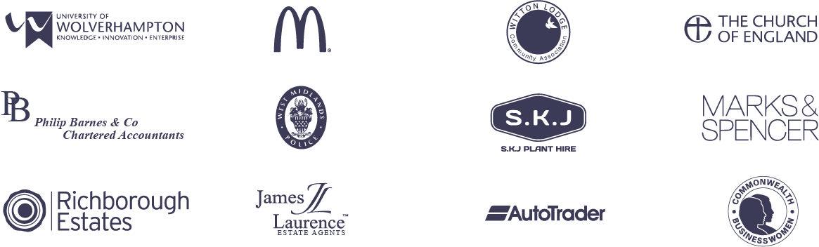 Wolverhampton University, Mcdonalds, Church of England, Autotrader, Marks and Spencers & Richborough Estates client logos