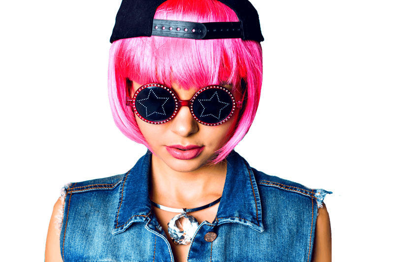 Woman in pink wig, wearing sunglasses with denim jacket on