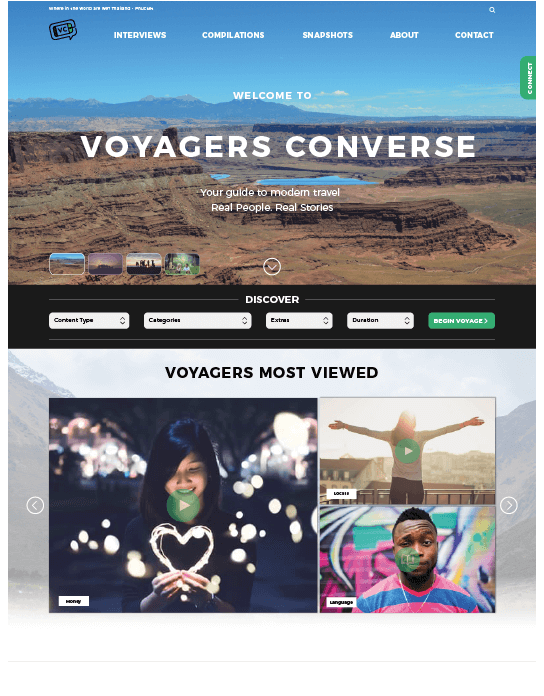 Voyager converse mock up website design