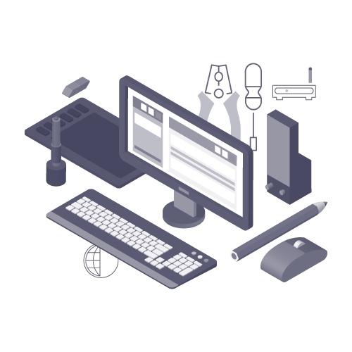 Illustration of tools needed for web design