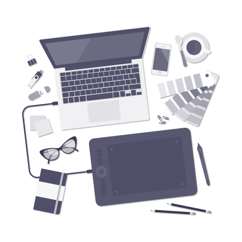 illustration of a laptop, tablet and colour chart depicting the design process