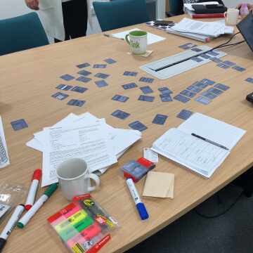 Business cards laid out on a table