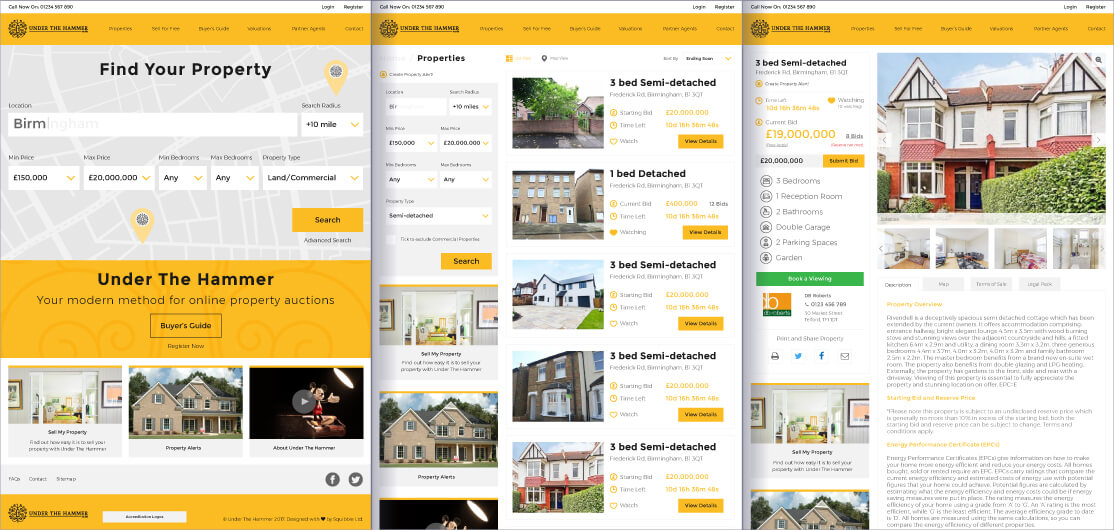 Under the Hammer website development example pages