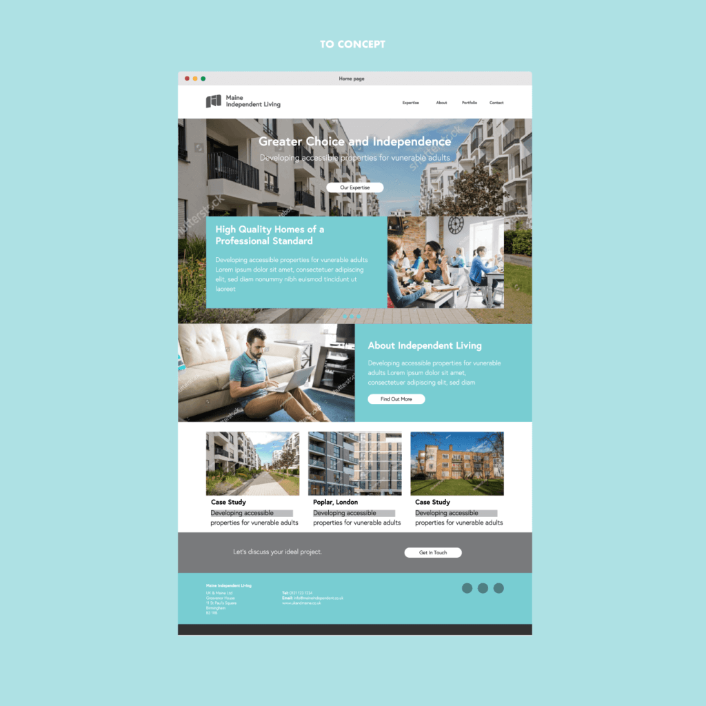 Website concept for Maine Independent Living